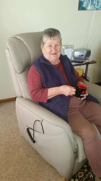 Ilona from Burnie - extremely comfortable in her new chair organised by Community Care TASMANIA